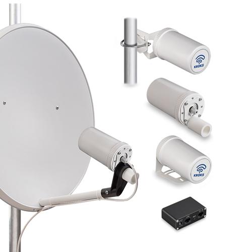 Роутер Kroks Rt-Pot sHw DS RSIM, встроенный в антенну с модемом Huawei E3372 и SIM-инжектором  (арт. 1936)